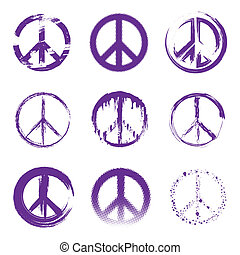 Grunge Peace Signs - A set of purple grunge style peace...