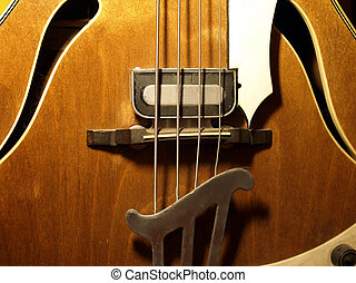 Detail of 4 string bass guitar