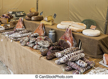 meat and cheese on belgium market
