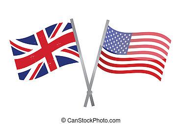 Reino Unido, EUA, Bandeiras, juntar, junto,...