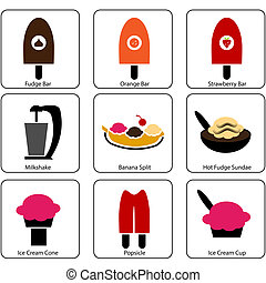 Ice Cream Parlor Icons - An image of ice cream parlor icons.