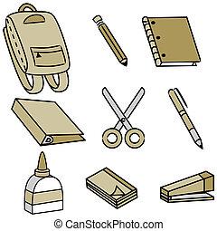 escola, fornecer, ícones