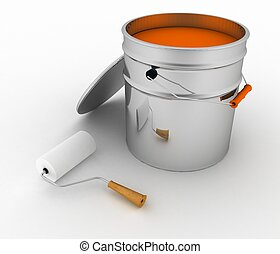 open bucket with a pain and roller. 3d illustration on white...
