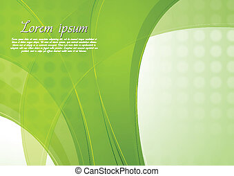 Bright green vector waves template - Abstract green wavy...