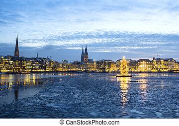 Hamburg Alster Lake at Christmas - The Hamburg Alster lake...