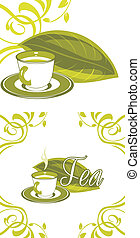 Cup of green tea. Elements for design. Vector illustration