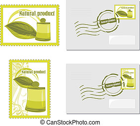 Envelop and post stamp - Natural product. Envelop and post...