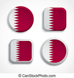Qatar flag buttons set on the white background