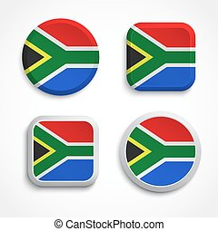 South Africa flag button set on the white background