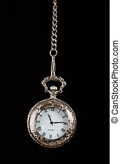 Silver pocket watch hang on chain black background