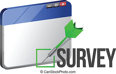 A web browser window shows the word Survey illustration...