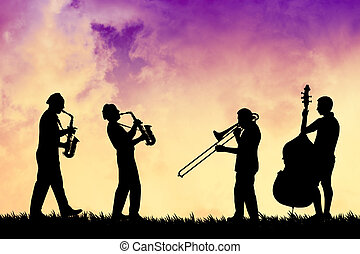 Musicist at sunset - illustration of an orchestra at sunset