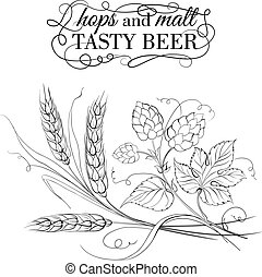Golden wheat and hop on sepia Vector illustration