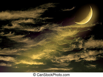 half moon in the night skyElements of this image furnished...