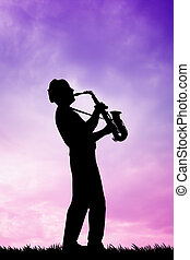 saxophonist at sunset - illustration of a musicist at sunset