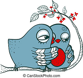 Birds in Love - Childish romantic blue birdies hugging....