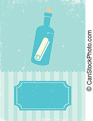 Message in a bottle - Retro illustration of message in a...