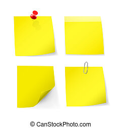 Yellow sticky note with pin, clip - Adhesive notes with pin,...