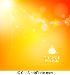 Bright orange background with a branch and leaves glowing -...