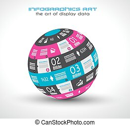 Infographic Spehre template . Ideal to display information,...