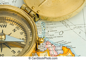 Compass - Brass compass on old map