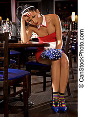 Waitress girl of commercial restaurant in uniform - Waitress...