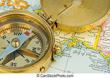 Antique Compass - Antique compass used by explorers for...