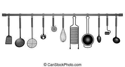 kitchen utensils isolated on white background