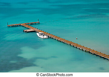 Tropical Boat Dock - Caribbean boat pier at a resort hotel...