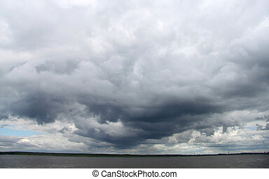 Oscuridad, encima, río, nubes