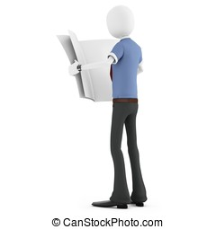 3d man business reading newspaper on white background