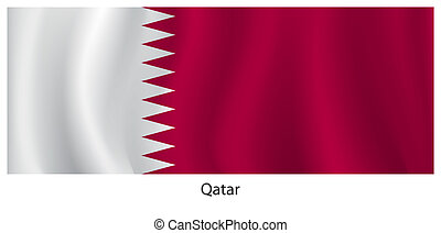 Qatar flag with title on the white background