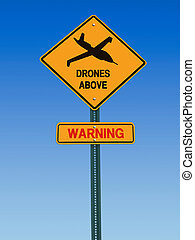 warning drones above sign - conceptual sign with drone...