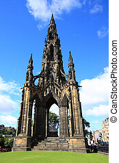 The walter scott monument on princess street, Edinburgh -...