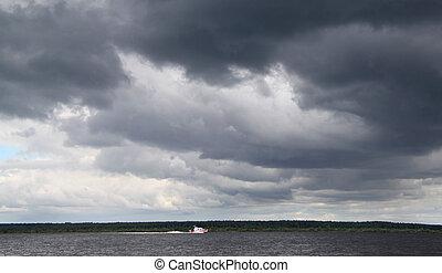 Oscuridad, nubes, encima, río