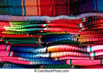 Blankets - Colorful mexican blankets for sale in the mercado...