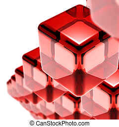red glass cubes isolated on white hi-tech background
