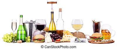 ensemble, différent, alcoolique, boissons, nourriture