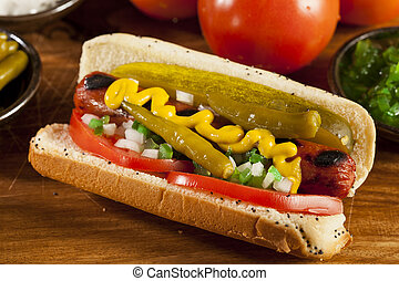 Chicago Style Hot Dog with Mustard, Pickle, Tomato, Relish...