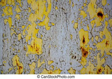 Grunge wooden wall with peeling paint