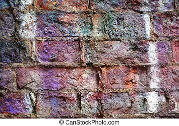 Grunge wall with colorful paint
