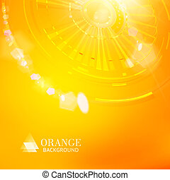 Technological background of orange cogwheel. Vector...
