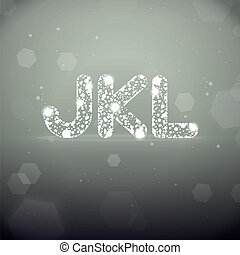 Vector Glowing Font from J to L on Bokeh Background