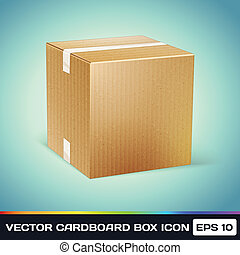 Vector Realistic Cardboard Box Icon