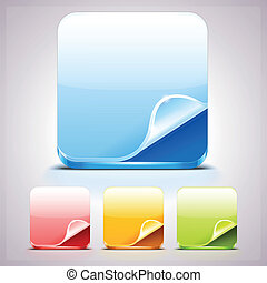 Set of Four App Icons Backgrounds with curl corner