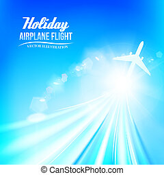 Best background blue sky with clouds and airplane Vector...