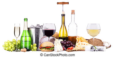 Set of different alcoholic drinks and food -...