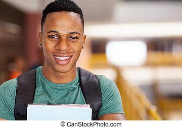 lindo, Afro, norteamericano, universidad, Estudiante
