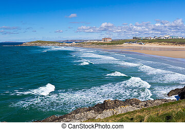 Newquay Cornwall England - Overlooking Fistral Beach Newquay...