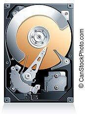 Hard disk drive HDD vector - Hard disk drive HDD realistic...